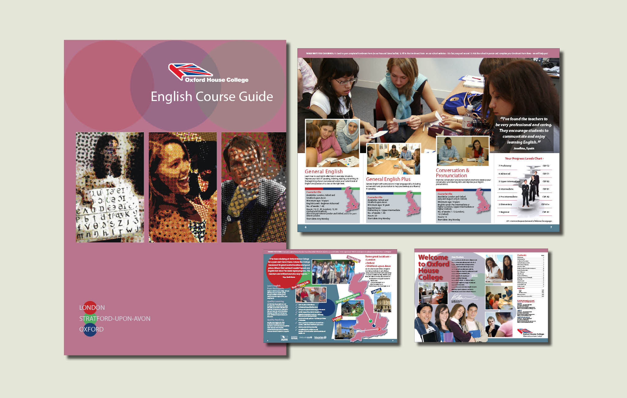 Brochure design for English Courses Guide, Oxford House College