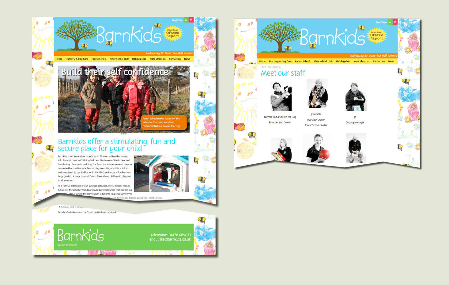 Design examples of website pages for Barnkids