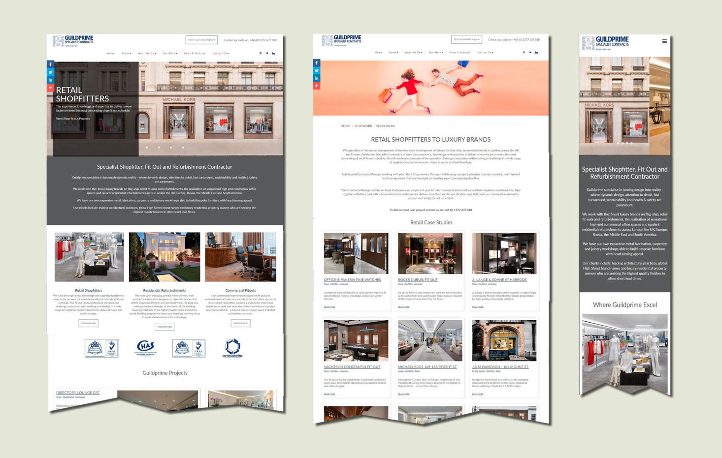 Examples of design for Guildprime's website