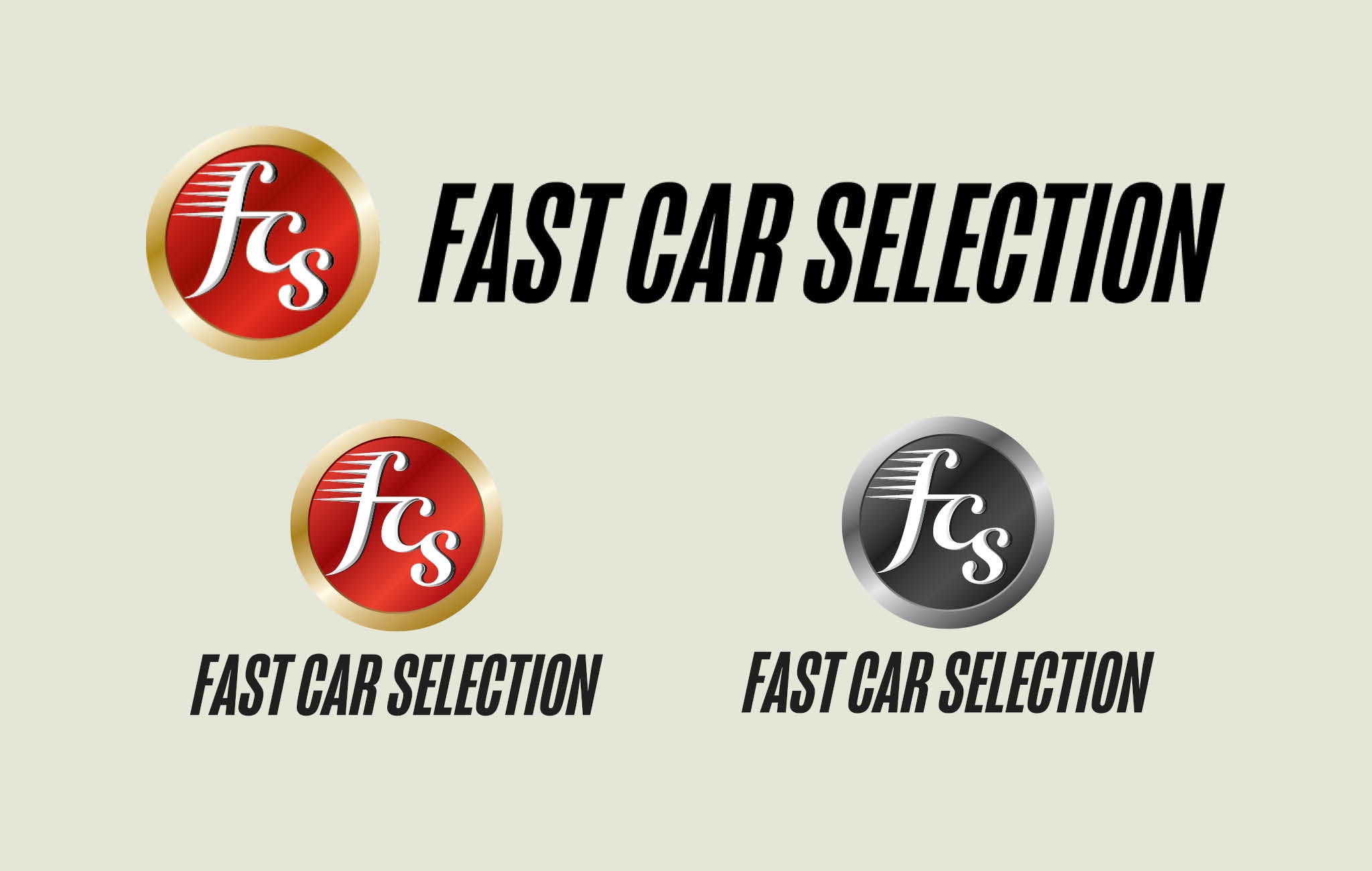 Logo graphic in the form of a circular car badge, comprising of a outer gold band containg a red circle on with the letters fcs are reversed out in white.